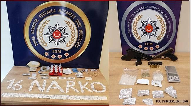 Bursa Narkotik Suçlarla Mücadele Şube Müdürlüğümüzce düzenlenen operasyonlarda 4 şahıs yakalandı