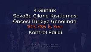 4 Günlük Sokağa Çıkma Kısıtlaması Öncesi Türkiye Genelinde 103.785 İş Yeri Kontrol Edildi