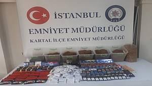 İstanbul Kartal İlçesinde Kaçak Sigara Tütün ve Dolu Makaron Operasyonu