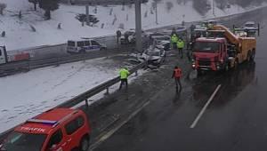 İstanbul FSM Köprüsünde polis aracı çarpıştı 3 polis memuru yaralandı