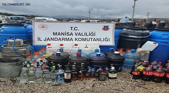 Manisa'da istihbari çalışmalar neticesinde jandarmadan kaçak içki operasyonu