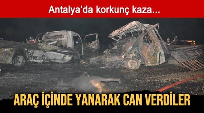 Antalya'da kaza sonrası alevlenen araçta 2 kişi yanarak yaşamını yitirdi