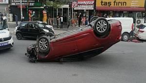 Esenyurt'ta boş yolda park halindeki otomobile çarpıp takla attı