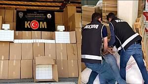 Gaziantep KOM Şube ekiplerince 2 milyon 220 bin makaron ele geçirildi
