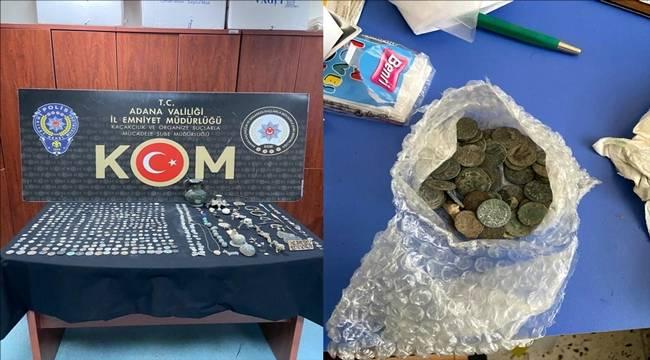 Adana'da 414 sikke, 84 tarihi eser niteliğinde obje ele geçirildi