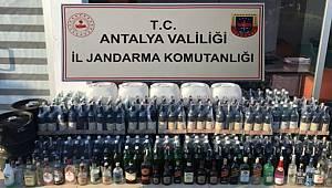 Antalya'nın Alanya ilçesinde bir otele ait depoda 72 litre sahte içki ele geçirildi