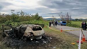 Samsun'da yanan araçta cansız erkek bedeni bulundu