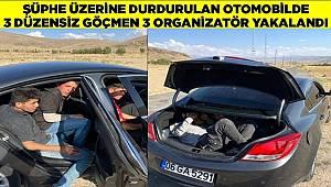 Van'da şüphe üzerine durdurulan otomobilde 3 düzensiz göçmen, 3 organizatör yakalandı