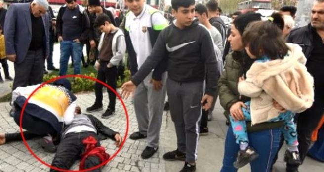 Sokak Ortasında Karısını Döven Cani Adamı Araya Girenler Bıçakladı!
